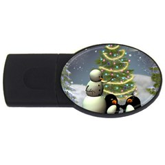 Funny Snowman With Penguin And Christmas Tree Usb Flash Drive Oval (4 Gb) by FantasyWorld7