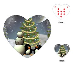 Funny Snowman With Penguin And Christmas Tree Playing Cards (heart)  by FantasyWorld7