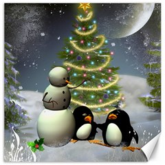 Funny Snowman With Penguin And Christmas Tree Canvas 16  X 16   by FantasyWorld7