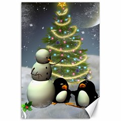Funny Snowman With Penguin And Christmas Tree Canvas 24  X 36  by FantasyWorld7