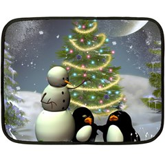Funny Snowman With Penguin And Christmas Tree Fleece Blanket (mini) by FantasyWorld7