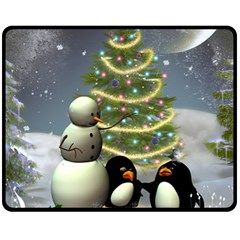 Funny Snowman With Penguin And Christmas Tree Fleece Blanket (medium)  by FantasyWorld7