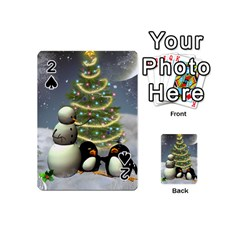 Funny Snowman With Penguin And Christmas Tree Playing Cards 54 (mini)  by FantasyWorld7