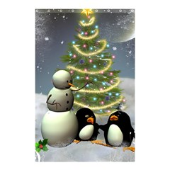 Funny Snowman With Penguin And Christmas Tree Shower Curtain 48  X 72  (small)  by FantasyWorld7