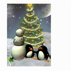 Funny Snowman With Penguin And Christmas Tree Large Garden Flag (two Sides) by FantasyWorld7