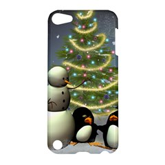 Funny Snowman With Penguin And Christmas Tree Apple Ipod Touch 5 Hardshell Case by FantasyWorld7