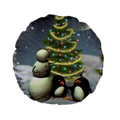 Funny Snowman With Penguin And Christmas Tree Standard 15  Premium Round Cushions by FantasyWorld7