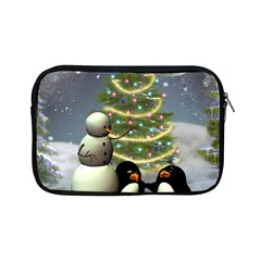 Funny Snowman With Penguin And Christmas Tree Apple Ipad Mini Zipper Cases