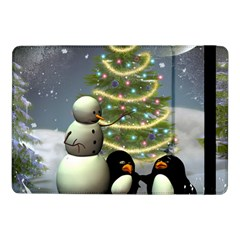 Funny Snowman With Penguin And Christmas Tree Samsung Galaxy Tab Pro 10 1  Flip Case by FantasyWorld7