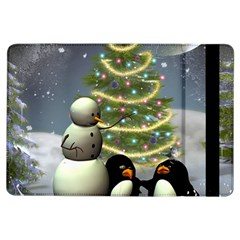 Funny Snowman With Penguin And Christmas Tree Ipad Air Flip by FantasyWorld7