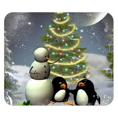 Funny Snowman With Penguin And Christmas Tree Double Sided Flano Blanket (small)  by FantasyWorld7