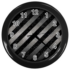 Stripes3 Black Marble & Gray Metal 1 Wall Clocks (black) by trendistuff