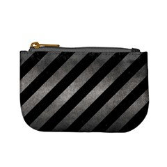 Stripes3 Black Marble & Gray Metal 1 Mini Coin Purses by trendistuff