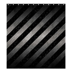 Stripes3 Black Marble & Gray Metal 1 Shower Curtain 66  X 72  (large)  by trendistuff