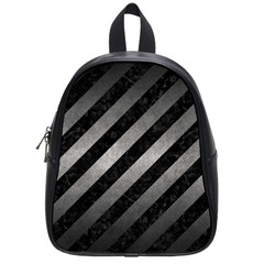 Stripes3 Black Marble & Gray Metal 1 School Bag (small) by trendistuff