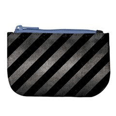 Stripes3 Black Marble & Gray Metal 1 Large Coin Purse by trendistuff