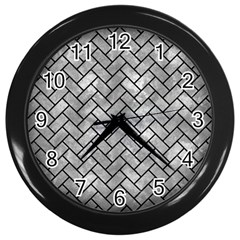 Brick2 Black Marble & Gray Metal 2 (r) Wall Clocks (black) by trendistuff