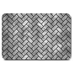 Brick2 Black Marble & Gray Metal 2 (r) Large Doormat  by trendistuff