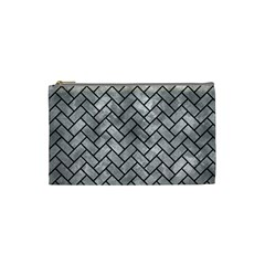Brick2 Black Marble & Gray Metal 2 (r) Cosmetic Bag (small)  by trendistuff