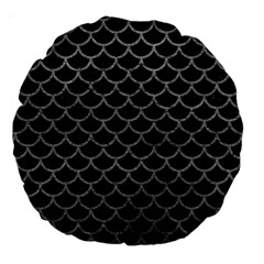 Scales1 Black Marble & Gray Leather Large 18  Premium Round Cushions by trendistuff