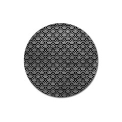 Scales2 Black Marble & Gray Leather (r) Magnet 3  (round) by trendistuff
