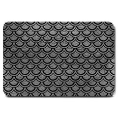 Scales2 Black Marble & Gray Leather (r) Large Doormat  by trendistuff