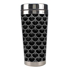 Scales3 Black Marble & Gray Leather Stainless Steel Travel Tumblers by trendistuff