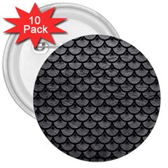 Scales3 Black Marble & Gray Leather (r) 3  Buttons (10 Pack)  by trendistuff