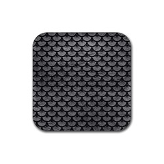 Scales3 Black Marble & Gray Leather (r) Rubber Coaster (square)  by trendistuff