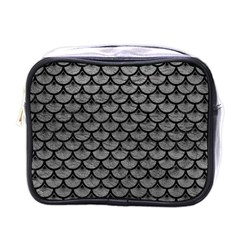 Scales3 Black Marble & Gray Leather (r) Mini Toiletries Bags by trendistuff