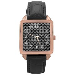 Scales3 Black Marble & Gray Leather (r) Rose Gold Leather Watch  by trendistuff