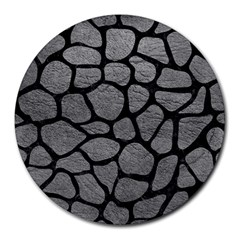 Skin1 Black Marble & Gray Leather Round Mousepads by trendistuff