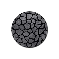 Skin1 Black Marble & Gray Leather Rubber Round Coaster (4 Pack)  by trendistuff