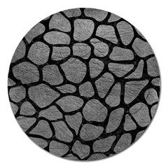 Skin1 Black Marble & Gray Leather Magnet 5  (round) by trendistuff