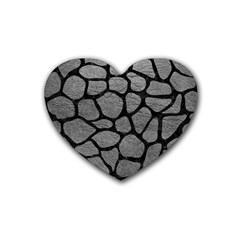 Skin1 Black Marble & Gray Leather Rubber Coaster (heart)  by trendistuff
