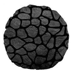 SKIN1 BLACK MARBLE & GRAY LEATHER Large 18  Premium Round Cushions