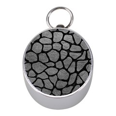 SKIN1 BLACK MARBLE & GRAY LEATHER Mini Silver Compasses