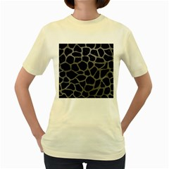 Skin1 Black Marble & Gray Leather (r) Women s Yellow T Shirt by trendistuff