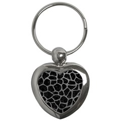 Skin1 Black Marble & Gray Leather (r) Key Chains (heart)  by trendistuff