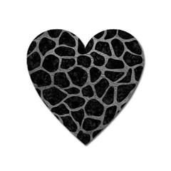 Skin1 Black Marble & Gray Leather (r) Heart Magnet by trendistuff