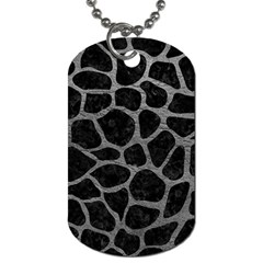 Skin1 Black Marble & Gray Leather (r) Dog Tag (one Side) by trendistuff