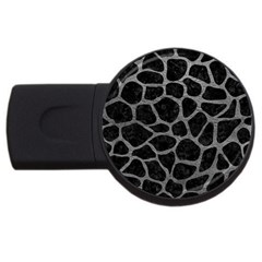 Skin1 Black Marble & Gray Leather (r) Usb Flash Drive Round (2 Gb) by trendistuff