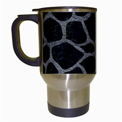 Skin1 Black Marble & Gray Leather (r) Travel Mugs (white) by trendistuff