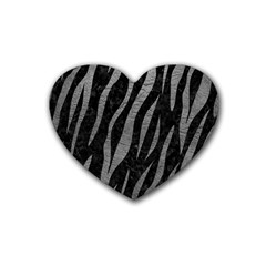Skin3 Black Marble & Gray Leather Heart Coaster (4 Pack)  by trendistuff