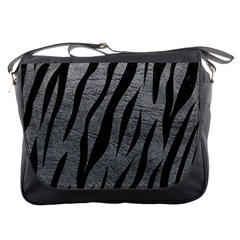 Skin3 Black Marble & Gray Leather (r) Messenger Bags by trendistuff
