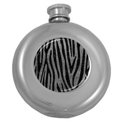 Skin4 Black Marble & Gray Leather Round Hip Flask (5 Oz) by trendistuff
