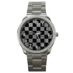Square1 Black Marble & Gray Leather Sport Metal Watch by trendistuff