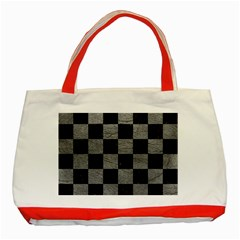 Square1 Black Marble & Gray Leather Classic Tote Bag (red) by trendistuff