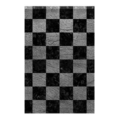 Square1 Black Marble & Gray Leather Shower Curtain 48  X 72  (small)  by trendistuff