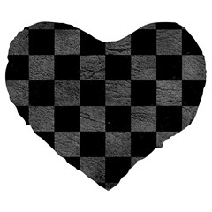 Square1 Black Marble & Gray Leather Large 19  Premium Flano Heart Shape Cushions by trendistuff